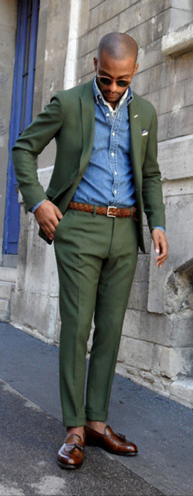 Green-Suit-Denim-Shirt-Brown-Loafers
